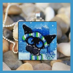 Bundled Up Christmas Snow Cat Cabochon
